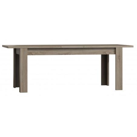 Table extensible pour salle à manger FARRA. Dimensions 180cm avec rallonge 40cm. Coloris Oak canyon, chêne clair