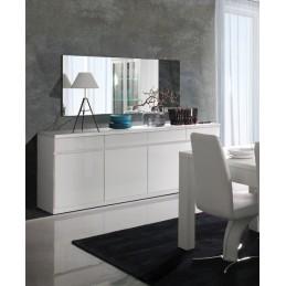 Buffet, bahut, enfilade 4 portes et 4 tiroirs FABIO. Blanc brillant. Meuble design pour votre salon salle à manger