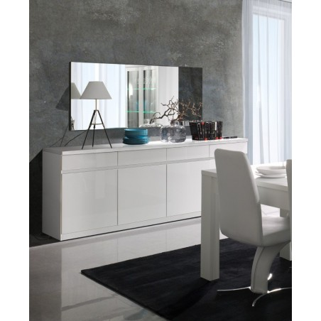 Buffet, bahut, enfilade 4 portes et 4 tiroirs + miroirs FABIO. Blanc brillant. Meuble design pour votre salon salle à manger