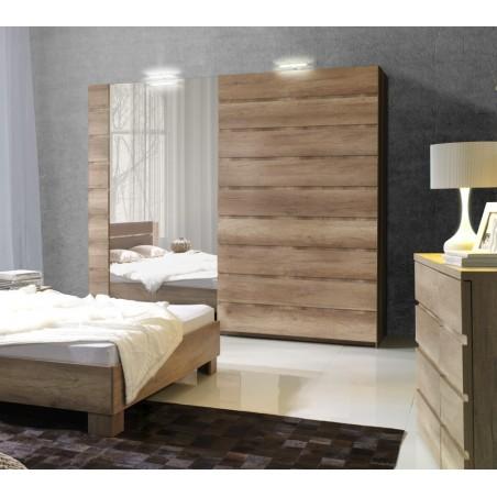 Armoire, garde robe ROMI deux portes coulissantes 200 cm, coloris dab canyon. Meuble design