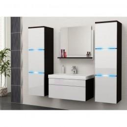 Salle de bain complète LUNA noir/blanc façades laquées, brillantes high gloss + led + vasque en céramique + miroir.