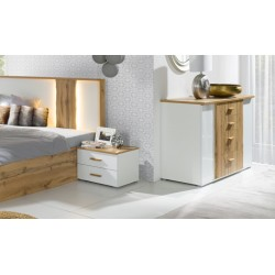 Commode WOOD. Coloris chêne et blanc. Meuble design, idéal pour votre chambre