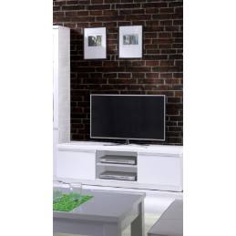 Ensemble pour votre salon FABIO. Meuble tv hifi + vitrine petit modèle + LED. Meubles design haute brillance
