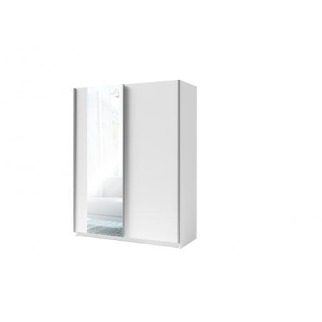 Armoire, garde robe GOZU 180 cm deux portes coulissantes. Dressing complet avec miroir, penderie et étagères. Coloris blanc