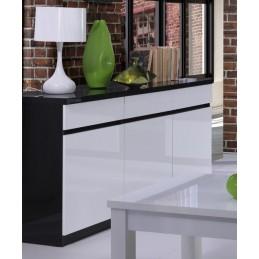 Buffet, bahut, enfilade 3 portes et 3 tiroirs FABIO + Miroir. Noir et blanc brillant. Meuble pour salon salle à manger