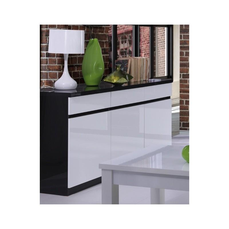 buffet bahut enfilade 3 portes et 3 tiroirs fabio miroir noir. Black Bedroom Furniture Sets. Home Design Ideas
