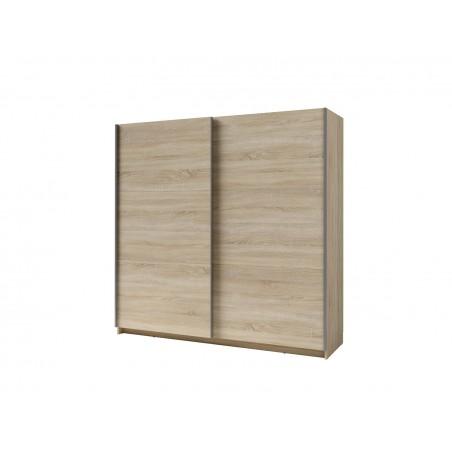 Armoire double penderie, Parot sonoma 200 cm deux portes coulissantes étagères en hauteur. Type scandinave