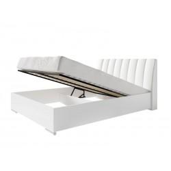 lit design en simili cuir blanc 160 x 200 cm avec option coffre et 2 chevets VERONA. Meuble design pour chambre à coucher