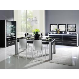 Buffet, bahut LINA noir et blanc avec LED