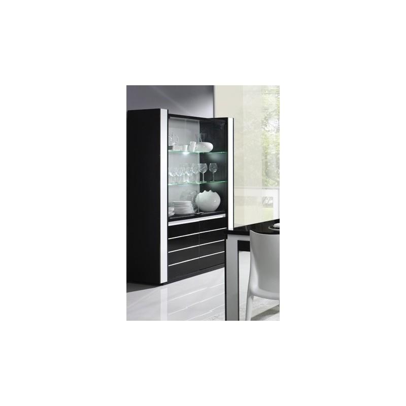 Vitrine argentier vaisselier lina led coloris noir et blanc brill for Meuble salon noir et blanc