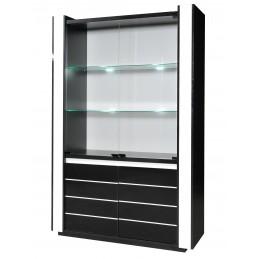 Vitrine argentier vaisselier LINA + LED coloris noir et blanc brillant. Meuble design pour votre salon ou salle à manger
