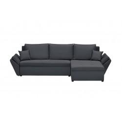 Canapé d'angle réversible et convertible Helix, couleur Gris Foncé, 4 places avec coffre de rangement