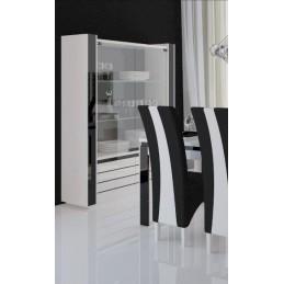 Vitrine argentier vaisselier LINA + LED coloris blanc et noir brillant. Meuble design pour votre salon ou salle à manger.
