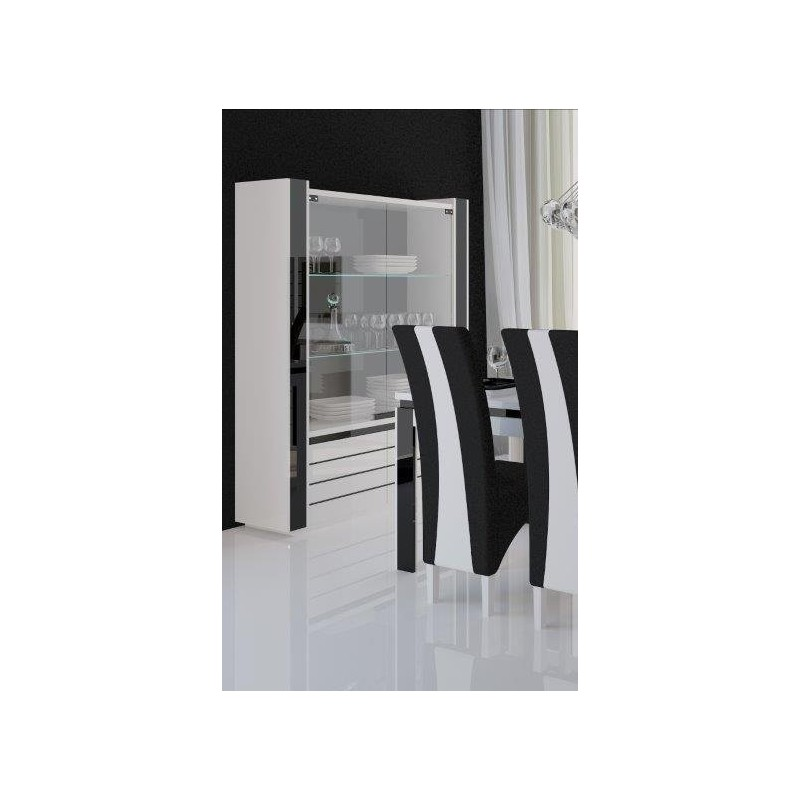 vitrine argentier vaisselier lina led coloris blanc et noir brill. Black Bedroom Furniture Sets. Home Design Ideas
