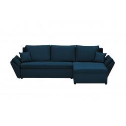 Canapé d'angle réversible et convertible Helix, couleur Bleu Pétrole, 4 places avec coffre de rangement