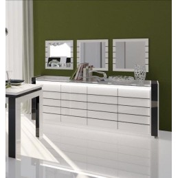 Buffet, bahut LINA blanc et noir brillant avec LED. Meuble design pour votre salle à manger