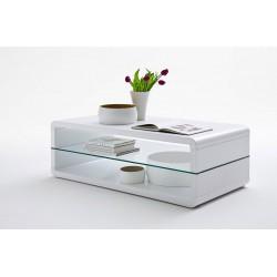 Table basse collection LEVIS. Meuble type CONTEMPORAIN coloris blanc. Effet ultra tendance pour votre salon.