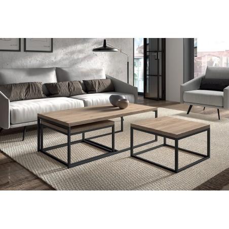Table d'appoint style industriel HELLINGTON effet vieux chêne - Table basse - Ensemble 3 pièces