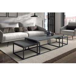 Table d'appoint style industriel HELLINGTON effet béton - Table basse - Ensemble 3 pièces