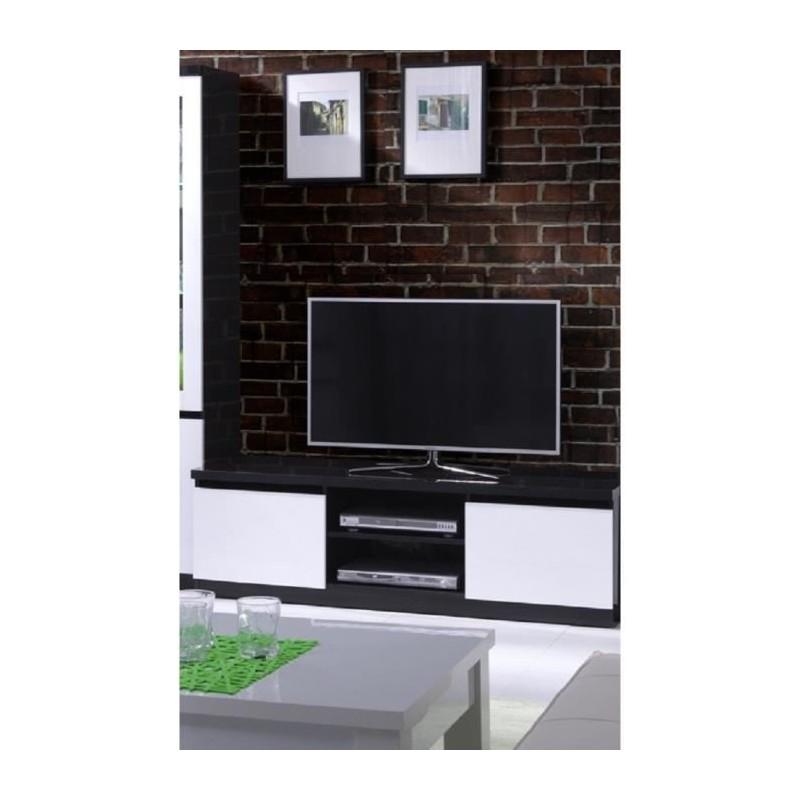 Meuble tv fabio 2 portes coloris noir et blanc meuble design pour v for Meuble salon noir et blanc