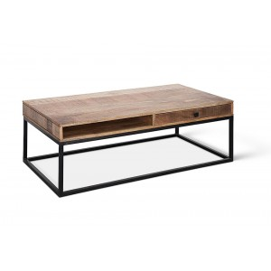 Table basse GOA en manguier massif. Table en bois exotique avec niche et tiroir.