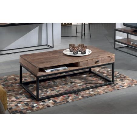 Table basse GOA en bois massif style industriel. Table en bois avec niche et tiroir.