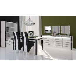 Salle à manger complète LINA blanche et noire. Table 160 cm + Buffet + 3 x Miroirs + Vaisselier (led) + 6 chaises