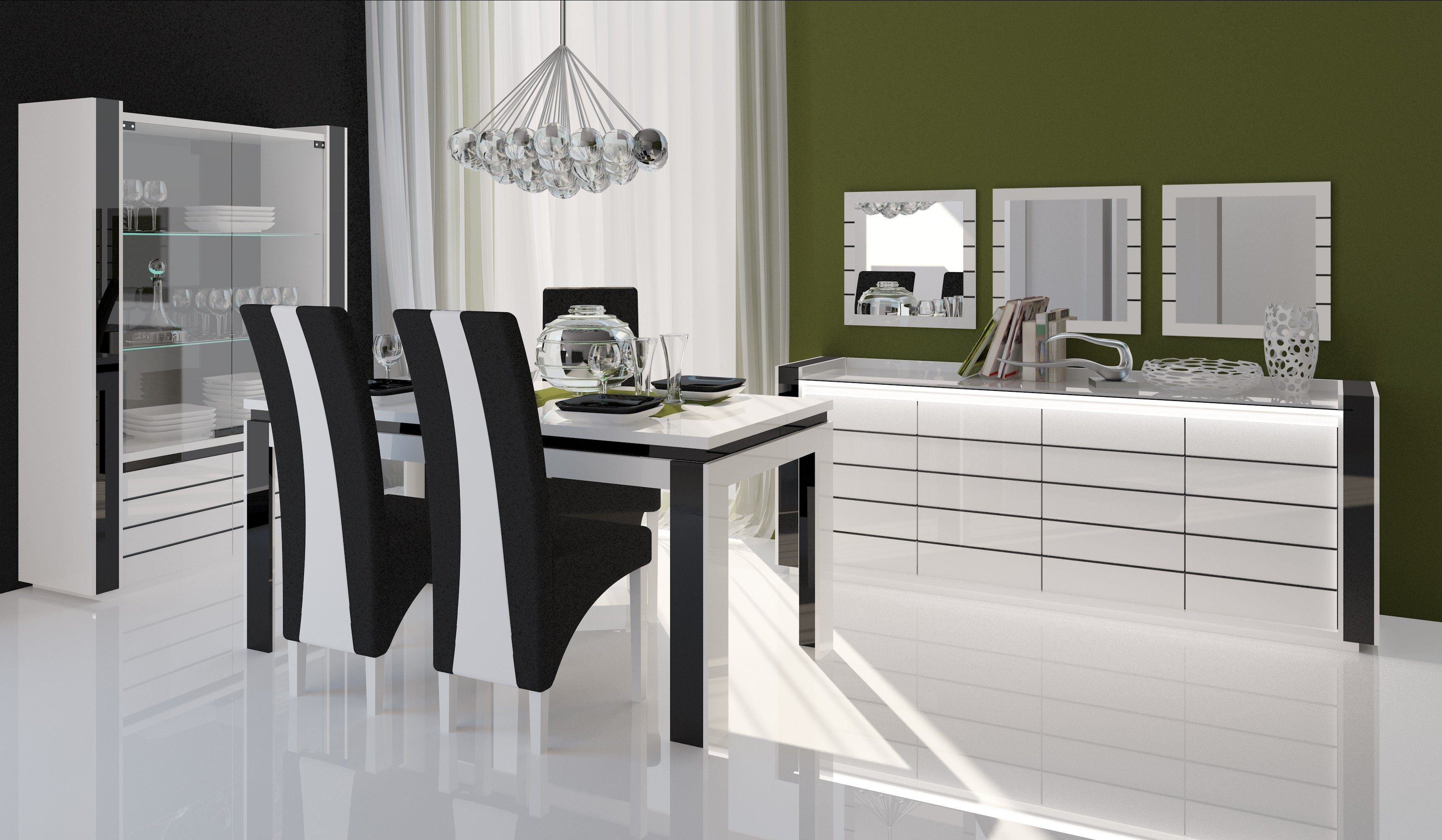 salle manger salle manger compl te lina blanche et noire table. Black Bedroom Furniture Sets. Home Design Ideas