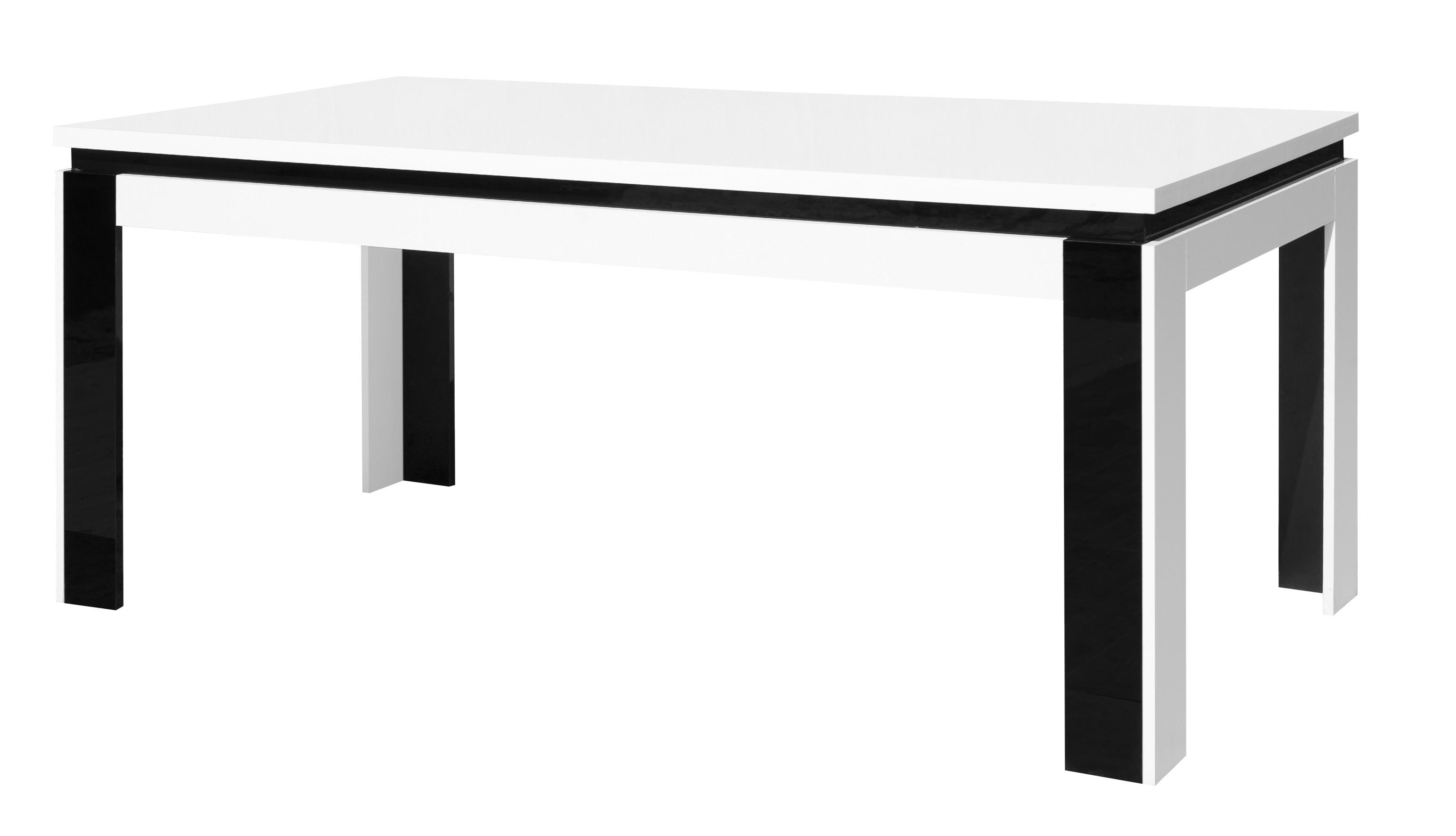 Salle manger salle manger compl te lina blanche et noire table for Table a manger complete