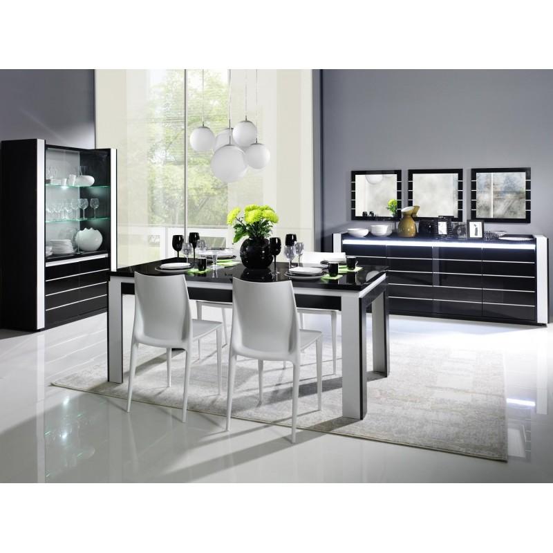 salle manger compl te lina noire et blanche table 160 cm buffe