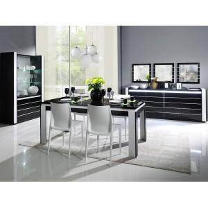 Salle à manger complète LINA noire et blanche. Table 160 cm + Buffet + 3 x Miroirs + Vaisselier (led)