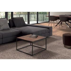 Table Basse carré GOA en bois massif (60x60cm). Meuble style industriel