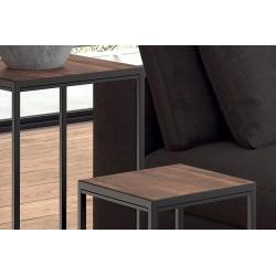 Tables d'appoint salon GOA en bois massif. Meubles style industriel