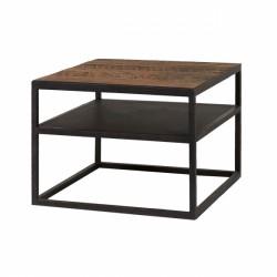 Table Basse carré MODENE en bois massif (60x60cm). Meuble style industriel
