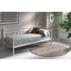 Lit canapé blanc SOBLA 90x200 - Style campagnard