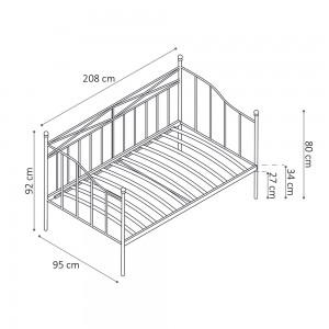 Dimensions lit canapé blanc SOBLA 90x200 - Style campagnard