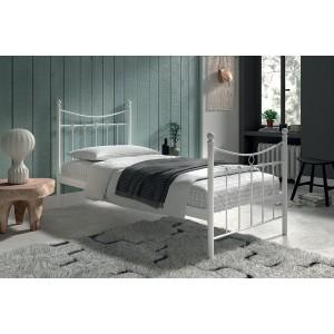 Lit 1 place métal blanc 90x200 SENCHA style contemporain.