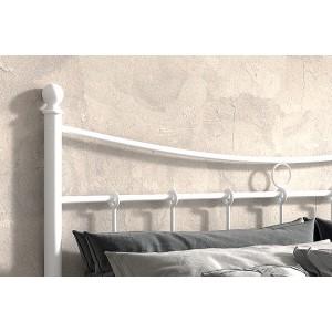 Lit 2 places métal blanc 140x200 SENCHA style contemporain.