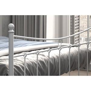 Lit 2 places métal blanc 160x200 SENCHA style contemporain.