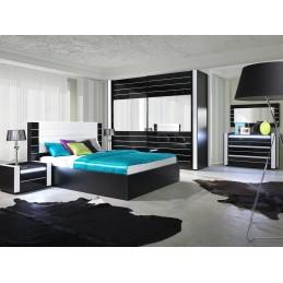 Commode LINA + LED noire et blanche brillante design. Commode pour chambre à coucher