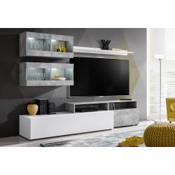 Ensemble salon SLITE. Composition TV murale coloris blanc et gris effet béton. LED incluses.