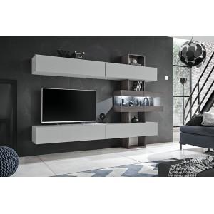 Ensemble salon TOKO. Composition TV murale coloris blanc et bois. LED incluses.