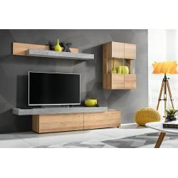 Ensemble salon ALLURE. Composition TV murale coloris bois et gris effet béton. LED incluses.