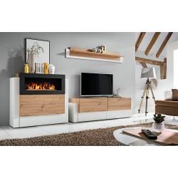 Ensemble meubles de salon - SPIRITE. Composition murale avec une cheminée bio-éthanol.