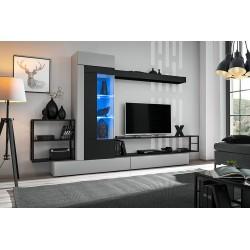 Ensemble salon GROOVE. Composition TV murale coloris Gris et noir mat. LED incluses.