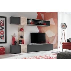 Ensemble salon HONOR. Composition TV murale coloris Gris Anthracite et bois. LED incluses.