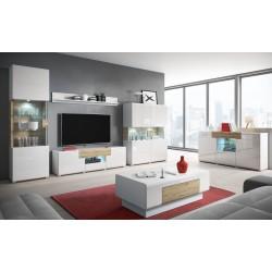Table basse collection OHIO. Meuble type CONTEMPORAIN coloris blanc et chêne. Effet ultra tendance et moderne pour votre salon.