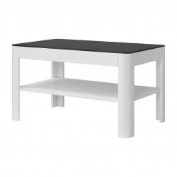 Table basse collection TONGA. Meuble type DESIGN coloris blanc plateau en verre fumé noir. Effet ultra tendance et moderne pour