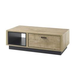 Table basse collection RODIN. Meuble type CONTEMPORAIN couleur bois et noir. Nombreux rangements intégrés. Effet ultra tendance