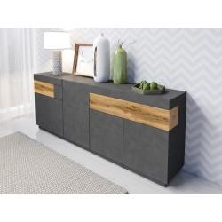 Buffet, bahut, enfilade KILES trois portes, deux tiroirs. Coloris gris béton et chêne. Style design.